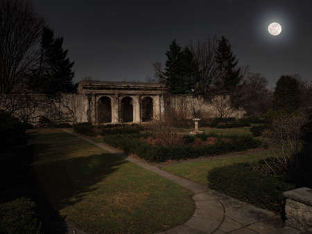 Loggia in a formal garden at night