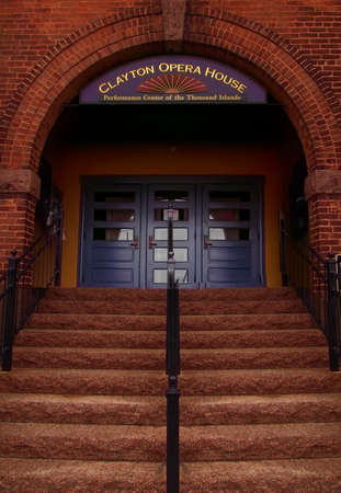 seaway: Clayton, New York, USA. March 29, 2017 . Steps to the entrance of the Clayton Opera House in downtown Clayton, New York, a small village on the shores of the Saint Lawrence River