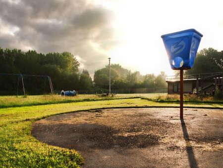 closed, abandoned, old playground      Stock Photo