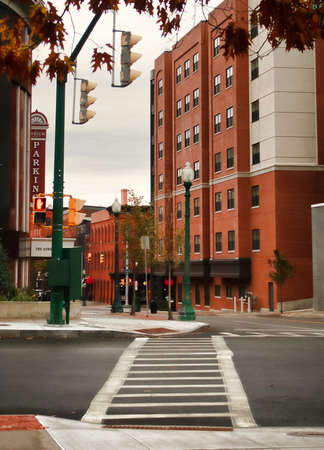 Syracuse, New York, USA. November 18, 2017. View down Clinton Street heading toward Armory Square on an overcast day in downtown Syracuse, New York