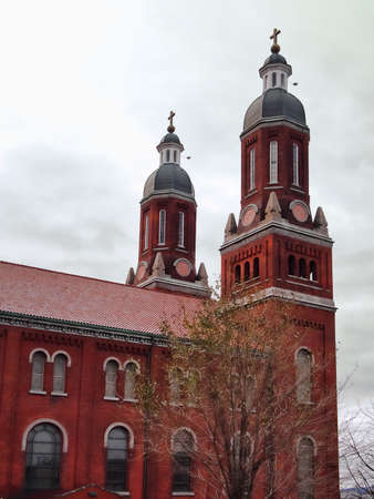 Beautiful red church and bell towers