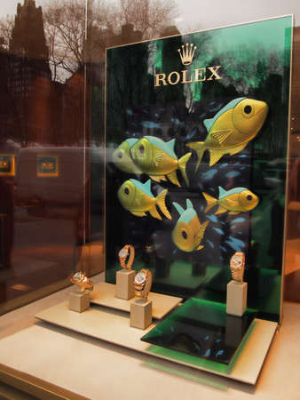 New York , New York, USA. Febuary 1, 2018. Window with a display of Rolex wathces in midtown Manhattan Editorial