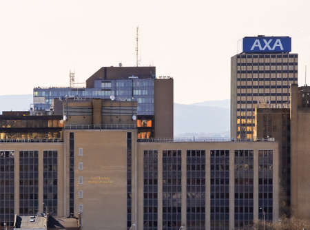 Syracuse, New York, USA. February 26, 2018. View looking south of downtown Syracuse with one of the AXA Towers, formally the Mony Towers, and the Senator Hughes State Office Building