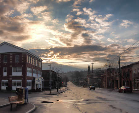 Camillus, New York, USA.  April 28, 2018. Small town of Camillus , NY, in upstate New York , early morning after a rain shower