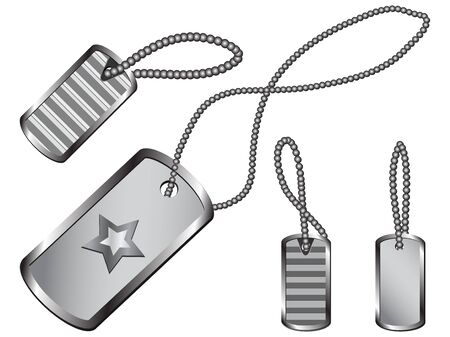 dogtag:  Set of silver dog tags with circular chains and shadows Stock Photo