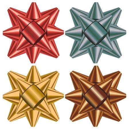 fiocco oro: prua regalo impostato in rosso, argento, oro e giallo Archivio Fotografico