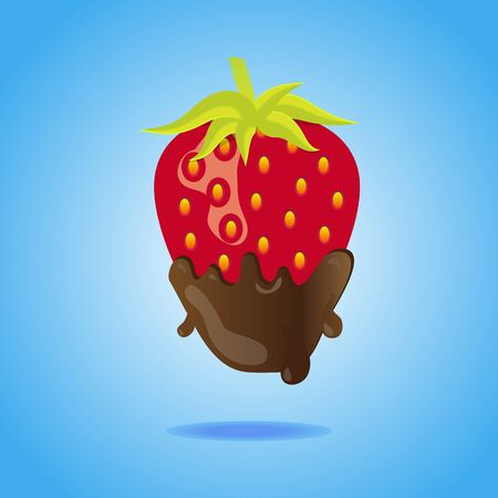 dipped: Strawberry dipped in chocolate floating on blue background with shadow