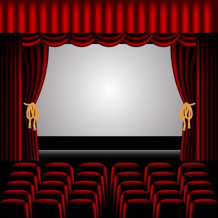 cortinas rojas: Escenario de teatro, con filas de asientos para el p�blico y cortinas rojas que rodean