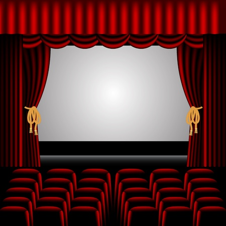 seat: Theatre stage, with red curtains surrounding and rows of seats for audience