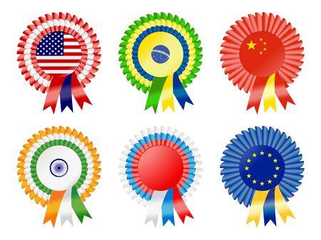 escarapelas: Rosetas para representar posibles super poderes de tiempo actual, incluyendo Estados Unidos, Brasil, República de China, India, Rusia y Unión Europea Foto de archivo