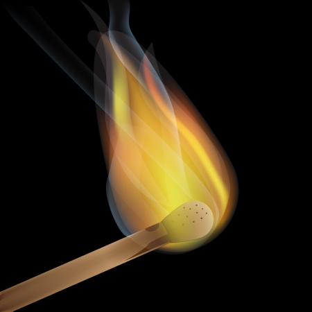explosion risk: match stick burning with flame and smoke on black background