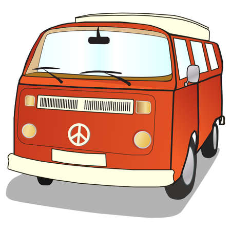 camper: Campervan in simple illustrated style with ban the bomb CND sign Stock Photo