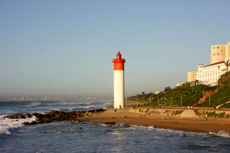 Red and White Lighthouse in Umhlanga