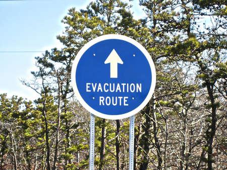 evacuatie: Evacuatie route ondertekenen Stockfoto