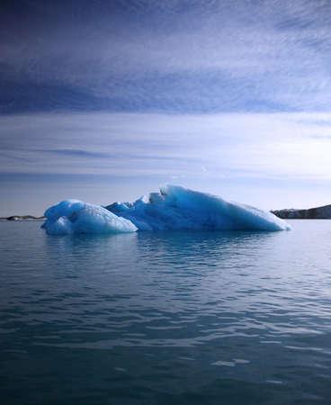 Blue iceberg floating on Jokulsarlon lagoon, Iceland Stock Photo
