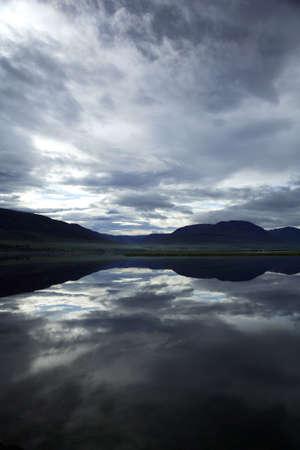 Dramatic Icelandic lake with reflection photo