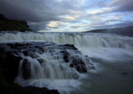 Gulfoss / Gullfoss Iceland taken with a slow shutter speed Stock Photo