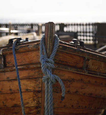 boat fishing: A close up shot of a moored rowing boat