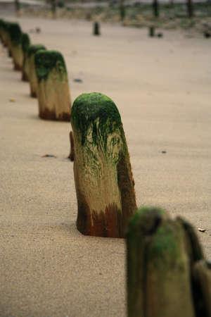 breakwaters: well worn breakwaters on Sandsend beach near Scarborough