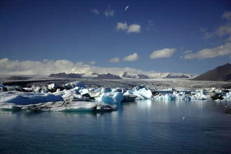 �ber Wasser: Hunderte von Eisbergen Jokulsarlon Lagune Island
