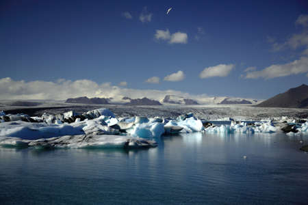 Hundreds of icebergs Jokulsarlon lagoon Iceland photo