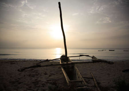 Catamaran on the beach at sunrise Mombassa Stock Photo - 749579