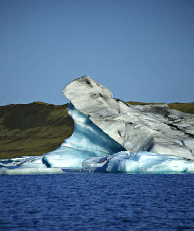 �ber Wasser: Schlie�en Sie bis zu einer gro�en Eisbergs Jokulsarlon Lagune Island