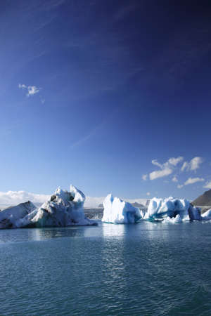 Large icebergs floating on Jokulsarlon lagoon photo