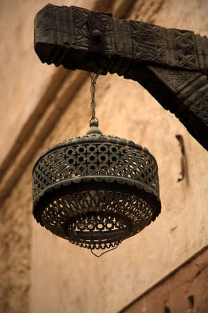 turreted: Close up of hanging lamp in Moroccan Medina