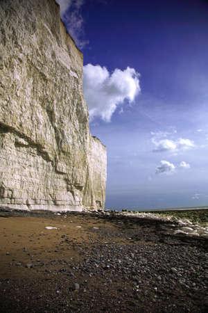 The sheer cliffs at Birling Gap beach photo