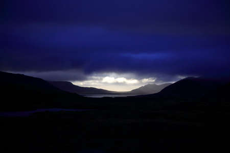 nighttimes: A gap in the clouds over Snaefellsnes Peninsula Iceland