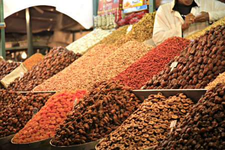 Dried fruit and nuts for sale Marrakech Morocco North Africa