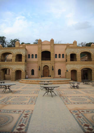 turreted: A medina courtyard in Morocco