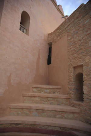 turreted: Stairs to nowhere in Moroccan Medina Stock Photo