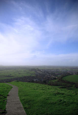 typically english: View from Glastonbury Tor across the valley