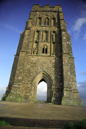 typically english: Vertical view of Glastonbury Tor