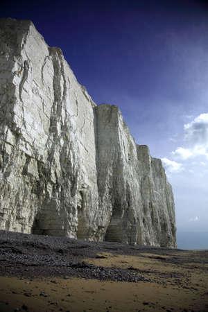 Sheer white cliffs at Birling Gap Beach England photo