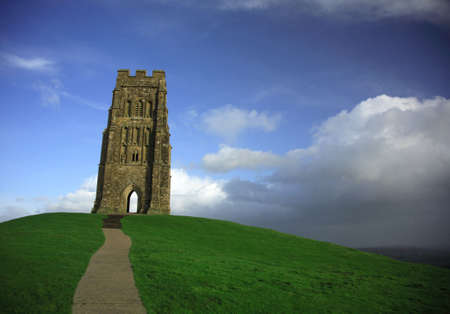 typically english: Stormy clouds brewing at Glastonbury Tor