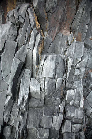 volcanic: Grey volcanic rock face of cliff on Snaefellsnes Peninsular Iceland