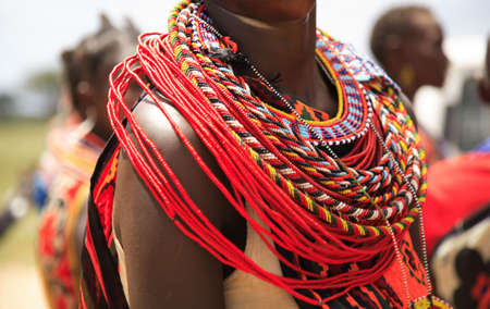 african tribe: African jewellery on a woman from the Samburu tribe Kenya Africa