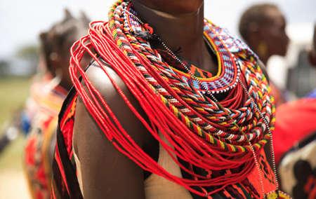 African jewellery on a woman from the Samburu tribe Kenya Africa