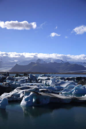 Masses of icebergs Jokulsarlon lagoon Iceland photo