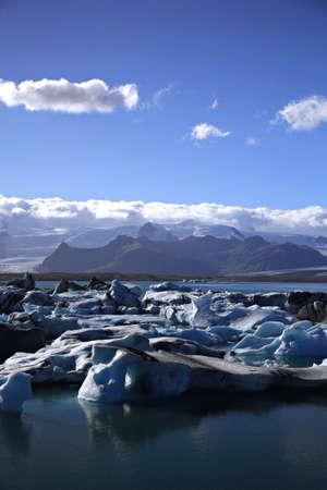 Masses of icebergs Jokulsarlon lagoon Iceland photo