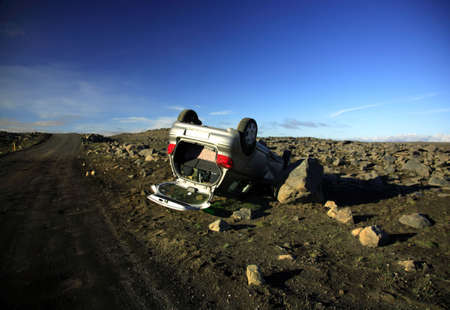 mishap: Car crash aftermath in Iceland