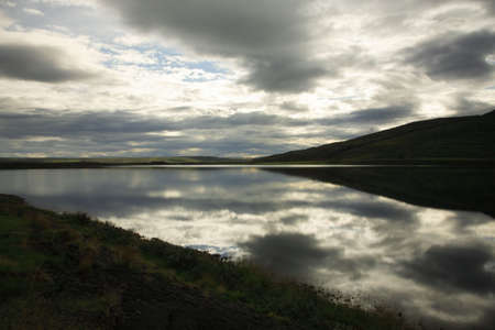 low light: Atmospheric lake in low light Iceland Stock Photo