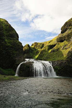 Stjornarfoss waterfall in Iceland on a sunny day Stock Photo - 845618
