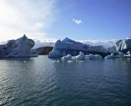 Amazing icebergs on Jokulsarlon lagoon Iceland photo