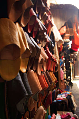 souk: Moroccan shoes in the Marrakech souk Stock Photo