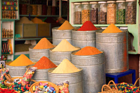 Spice shop in the souk Marrakech Morocco photo