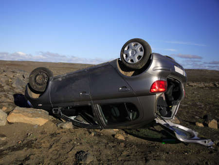 damaged roof: Car accident jusr off the Ring Road Iceland Stock Photo
